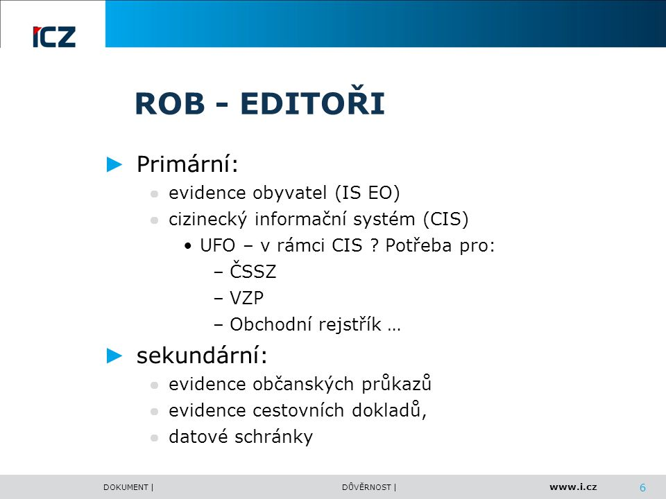 ROB - EDITOŘI Primární: sekundární: evidence obyvatel (IS EO)