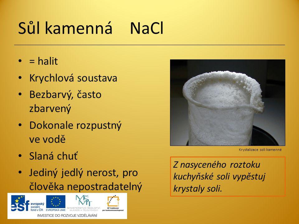 Sůl kamenná NaCl = halit Krychlová soustava Bezbarvý, často zbarvený