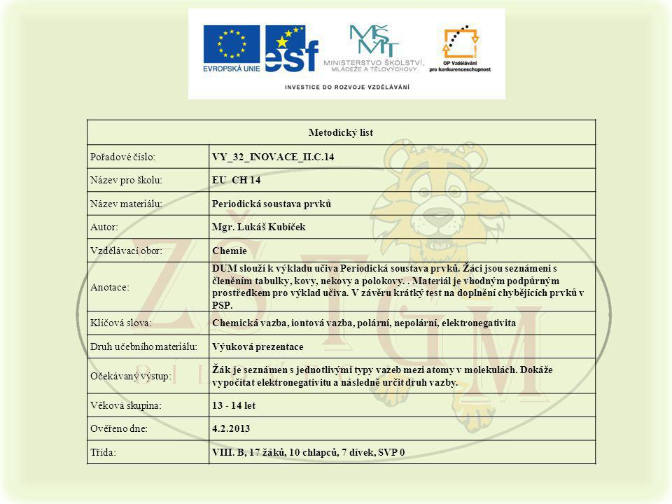 Metodický list Pořadové číslo: VY_32_INOVACE_II.C.14. Název pro školu: EU CH 14. Název materiálu: