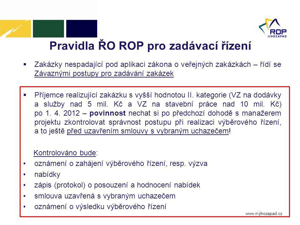 Pravidla ŘO ROP pro zadávací řízení