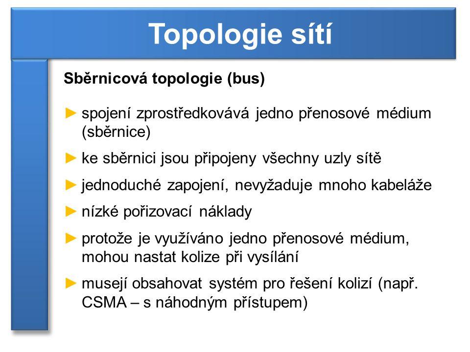 Topologie sítí Sběrnicová topologie (bus)