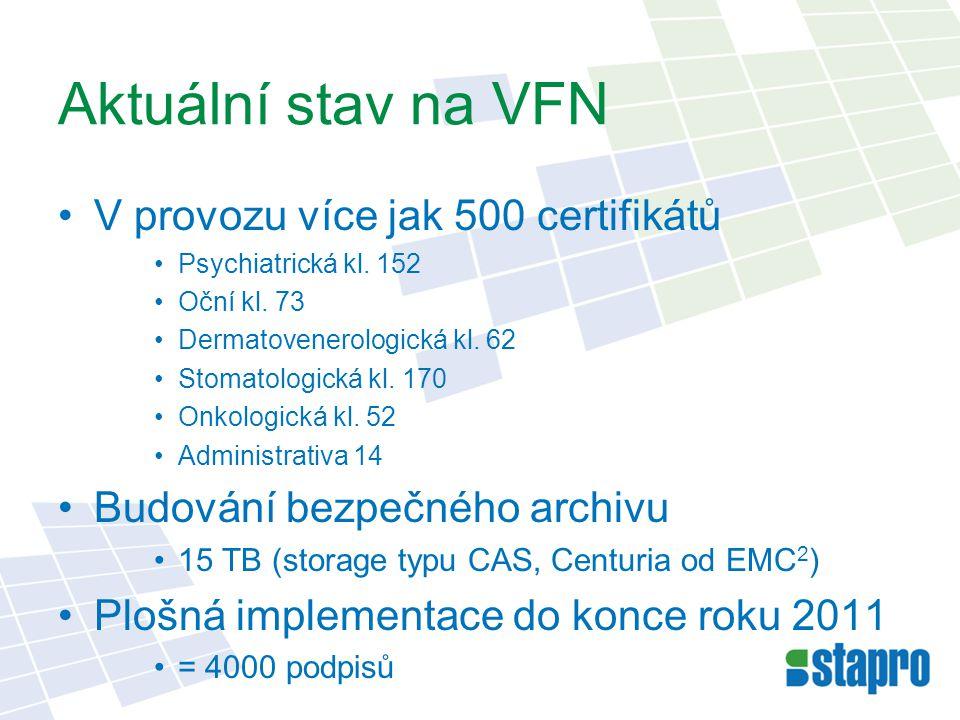 Aktuální stav na VFN V provozu více jak 500 certifikátů