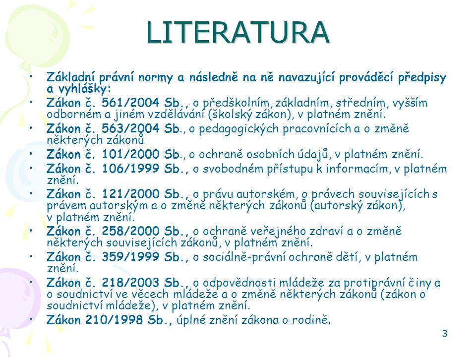LITERATURA Základní právní normy a následně na ně navazující prováděcí předpisy a vyhlášky: