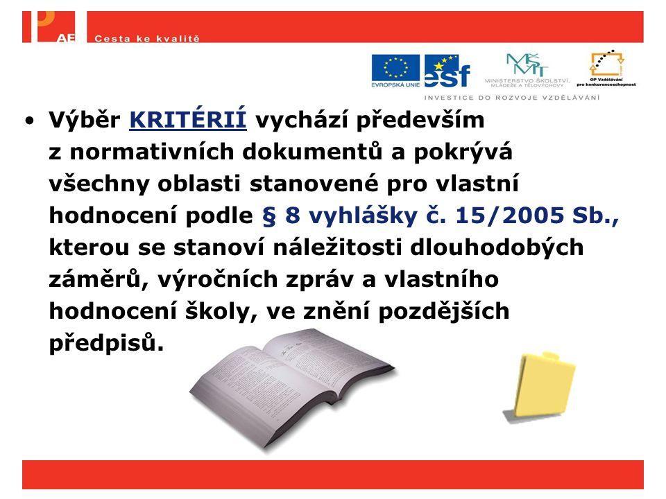 Výběr KRITÉRIÍ vychází především z normativních dokumentů a pokrývá všechny oblasti stanovené pro vlastní hodnocení podle § 8 vyhlášky č. 15/2005 Sb., kterou se stanoví náležitosti dlouhodobých záměrů, výročních zpráv a vlastního hodnocení školy, ve znění pozdějších předpisů.
