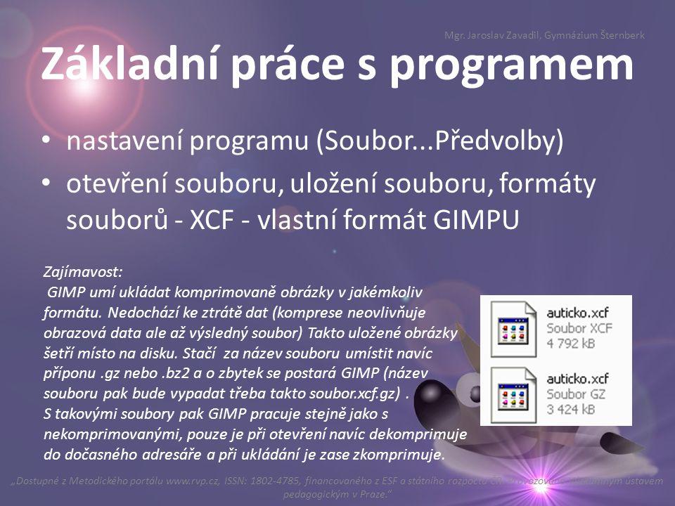Základní práce s programem
