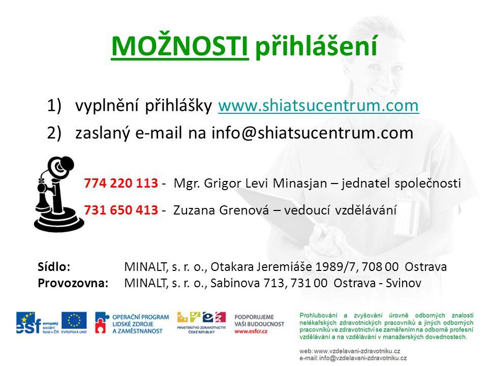 MOŽNOSTI přihlášení vyplnění přihlášky www.shiatsucentrum.com