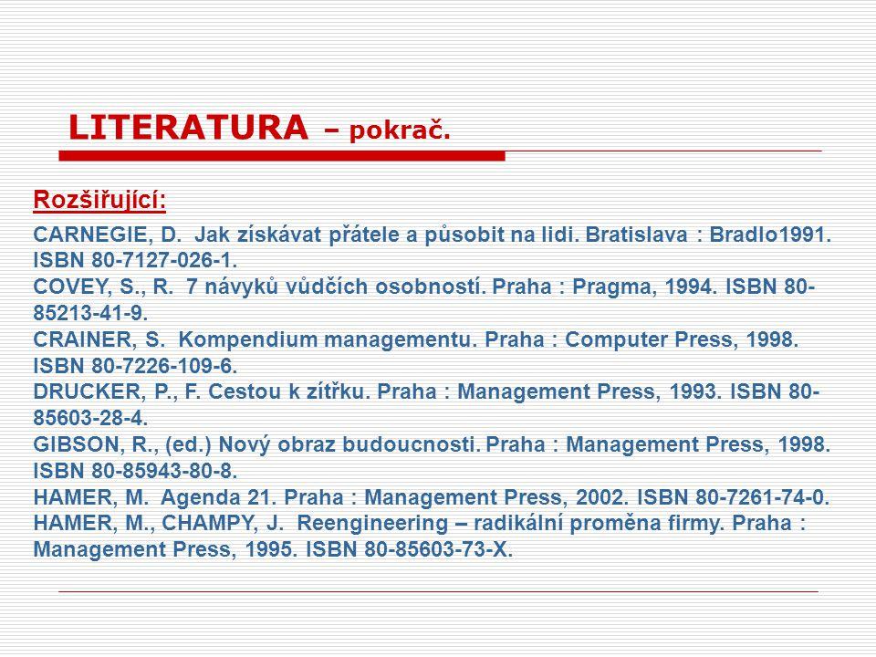 LITERATURA – pokrač. Rozšiřující: