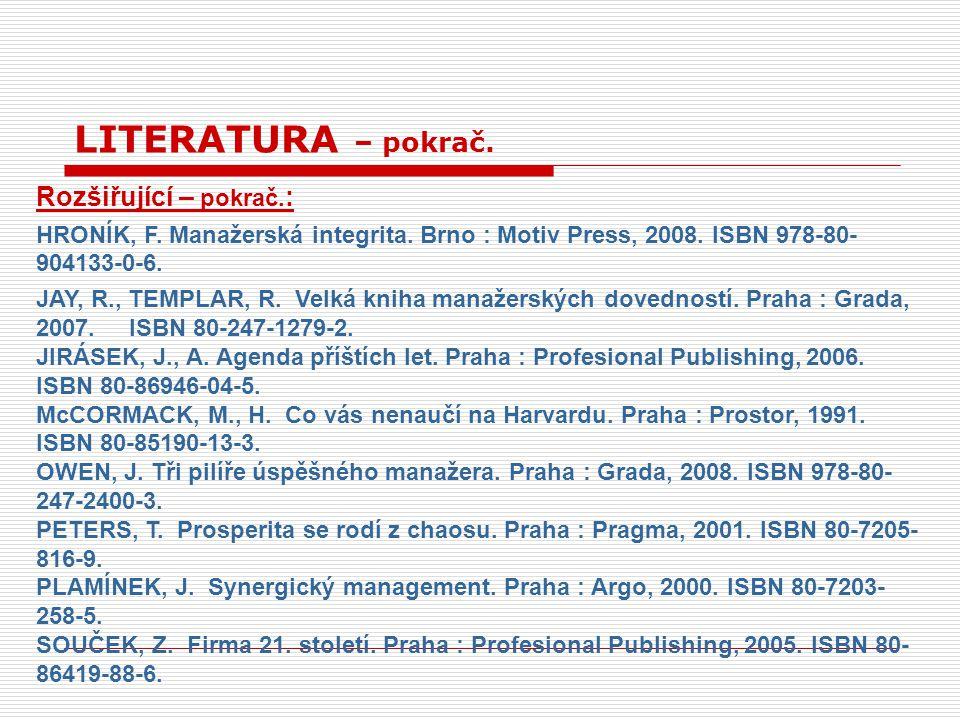 LITERATURA – pokrač. Rozšiřující – pokrač.: