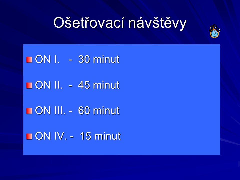 Ošetřovací návštěvy ON I. - 30 minut ON II. - 45 minut