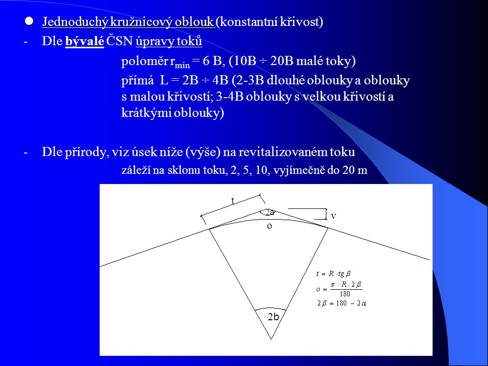 Jednoduchý kružnicový oblouk (konstantní křivost)