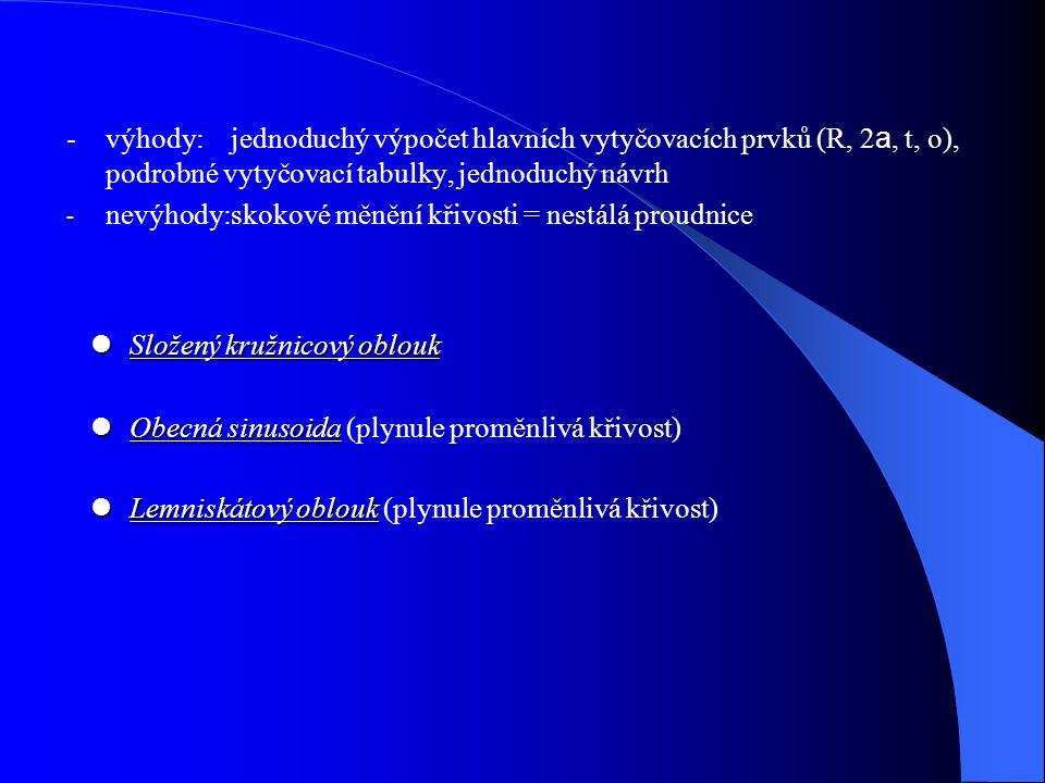 - výhody: jednoduchý výpočet hlavních vytyčovacích prvků (R, 2a, t, o), podrobné vytyčovací tabulky, jednoduchý návrh