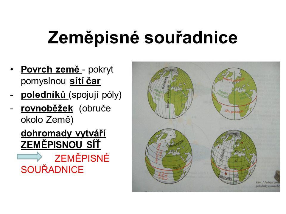 Zeměpisné souřadnice Povrch země - pokryt pomyslnou sítí čar