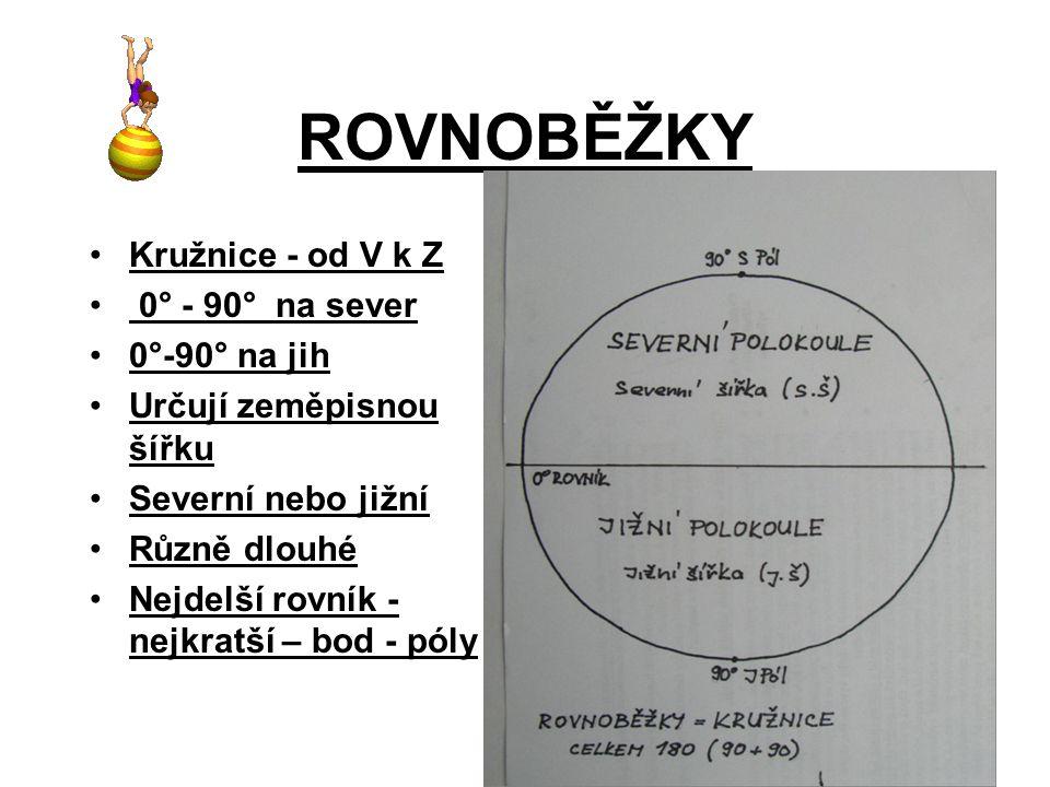 ROVNOBĚŽKY Kružnice - od V k Z 0° - 90° na sever 0°-90° na jih