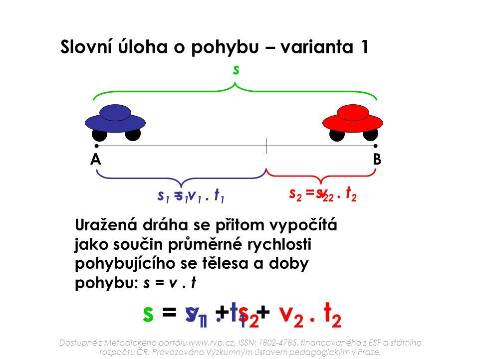 s = v1 . t1 + v2 . t2 s = s1 + s2 Slovní úloha o pohybu – varianta 1 s