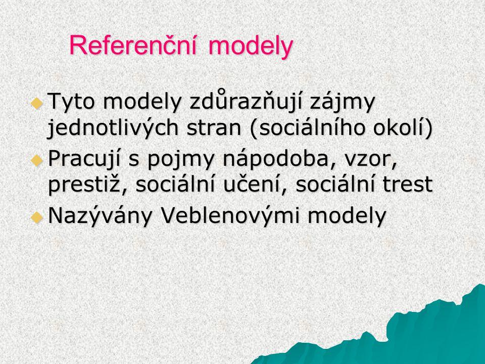 Referenční modely Tyto modely zdůrazňují zájmy jednotlivých stran (sociálního okolí)