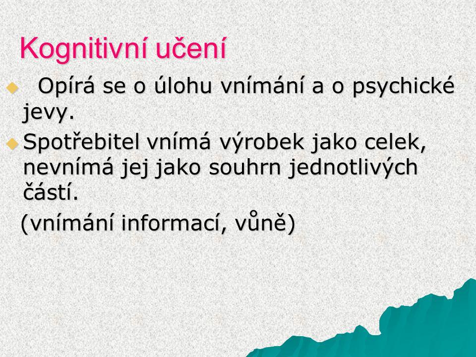 Kognitivní učení Opírá se o úlohu vnímání a o psychické jevy.
