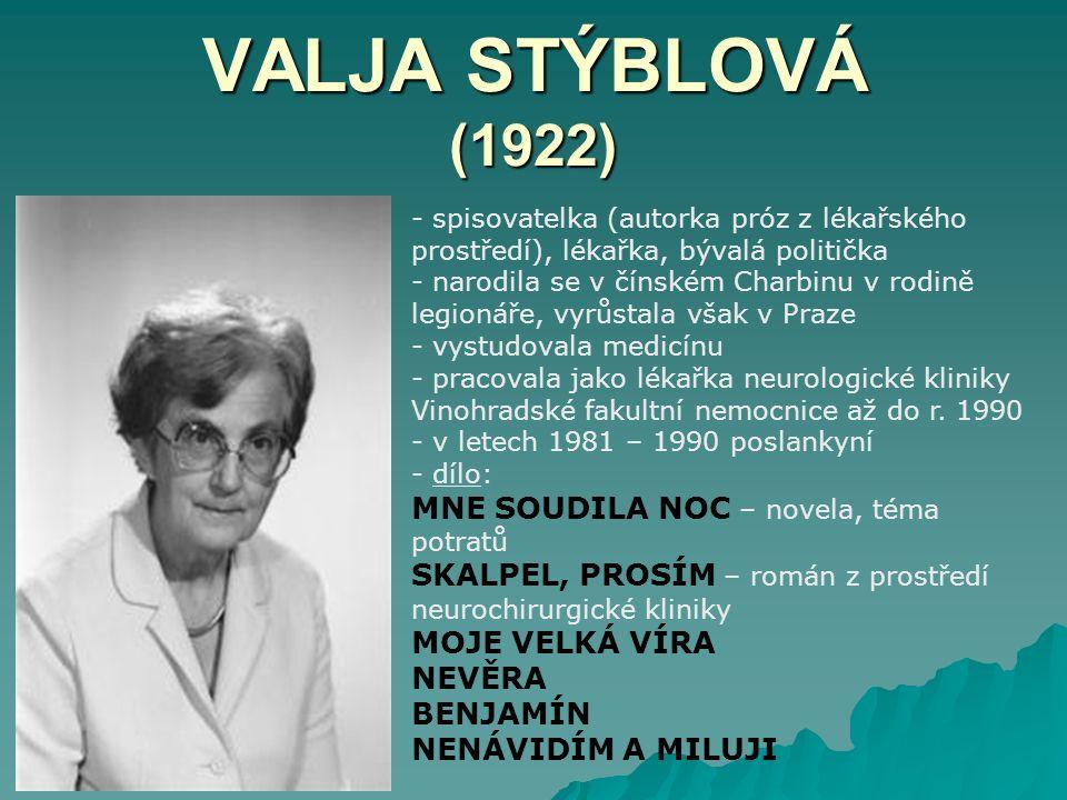VALJA STÝBLOVÁ (1922) MNE SOUDILA NOC – novela, téma potratů