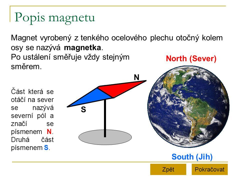 Popis magnetu Magnet vyrobený z tenkého ocelového plechu otočný kolem osy se nazývá magnetka. Po ustálení směřuje vždy stejným.