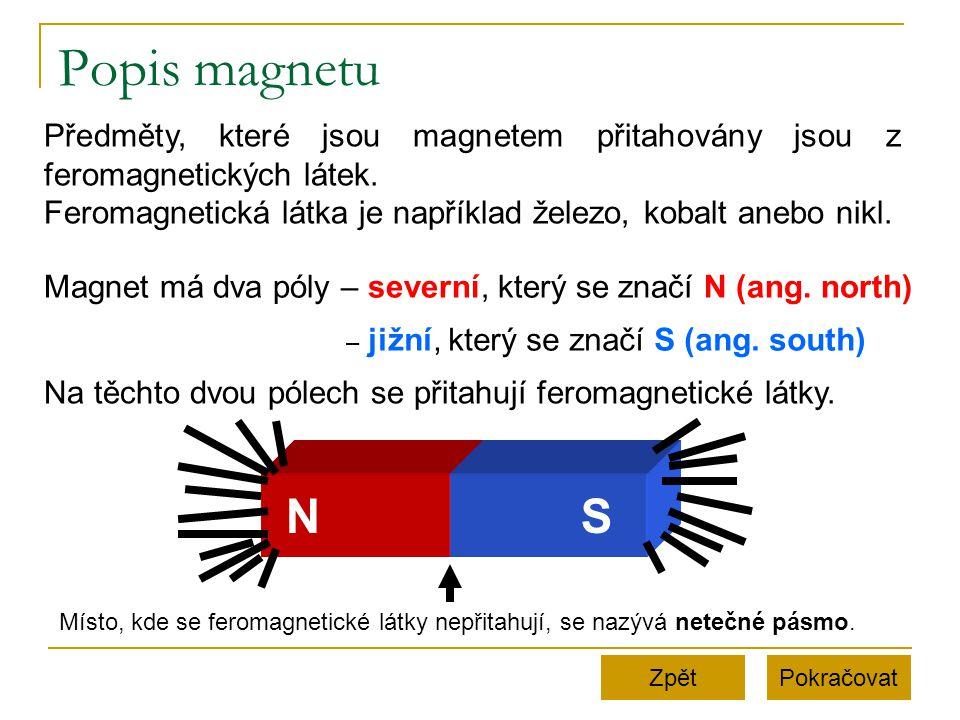 Popis magnetu Předměty, které jsou magnetem přitahovány jsou z feromagnetických látek. Feromagnetická látka je například železo, kobalt anebo nikl.