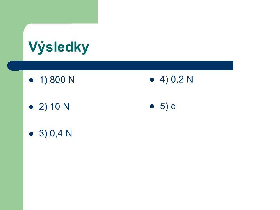 Výsledky 1) 800 N 2) 10 N 3) 0,4 N 4) 0,2 N 5) c
