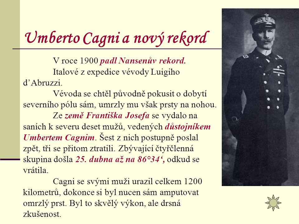 Umberto Cagni a nový rekord