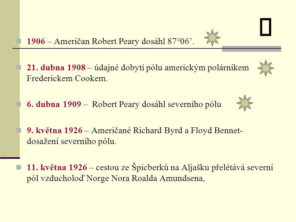 ü 1906 – Američan Robert Peary dosáhl 87°06'.