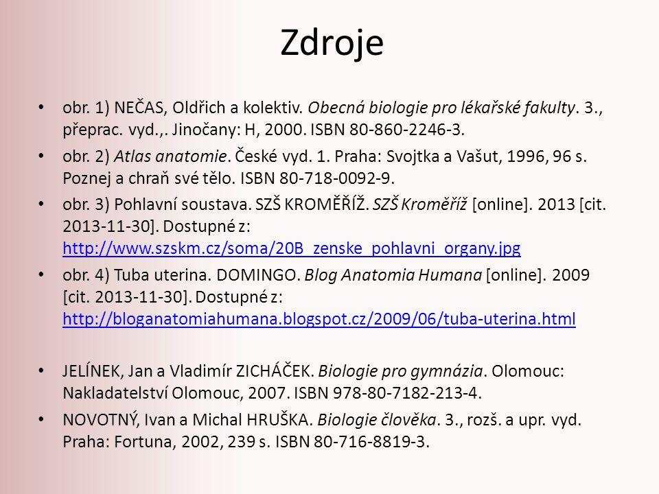 Zdroje obr. 1) NEČAS, Oldřich a kolektiv. Obecná biologie pro lékařské fakulty. 3., přeprac. vyd.,. Jinočany: H, 2000. ISBN 80-860-2246-3.