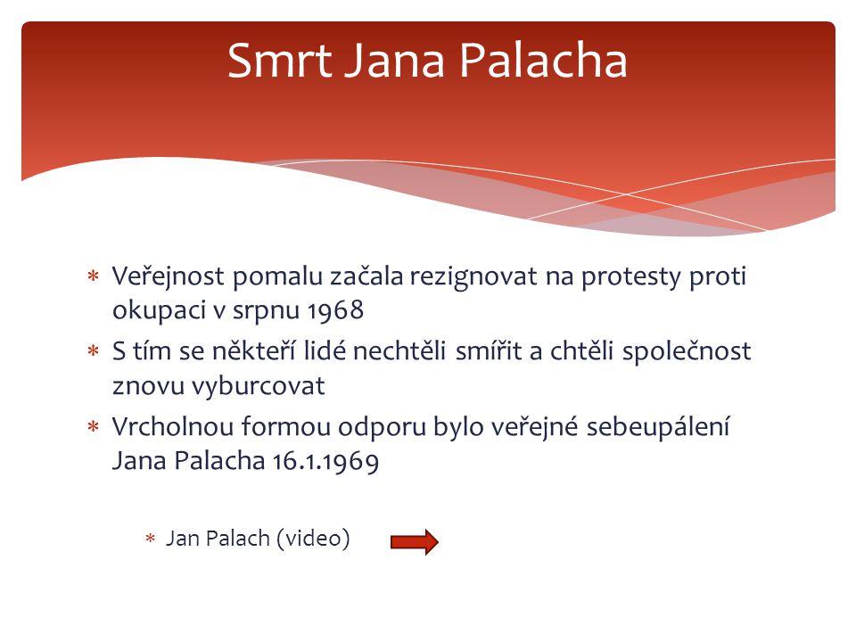 Smrt Jana Palacha Veřejnost pomalu začala rezignovat na protesty proti okupaci v srpnu 1968.