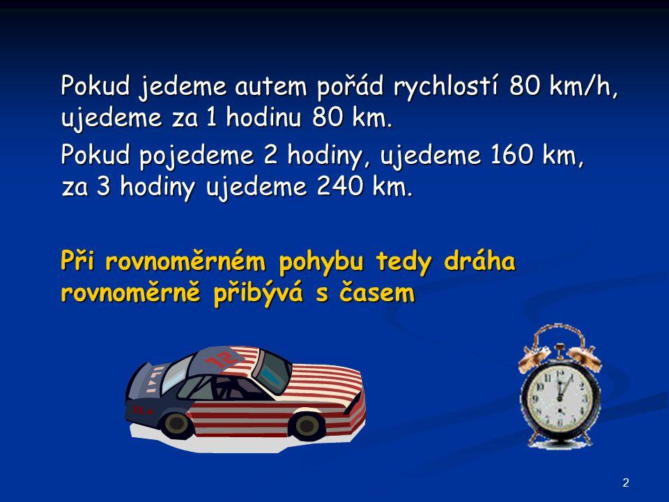 Pokud jedeme autem pořád rychlostí 80 km/h, ujedeme za 1 hodinu 80 km.