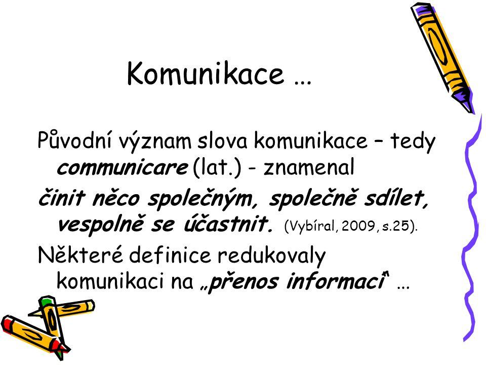 Komunikace … Původní význam slova komunikace – tedy communicare (lat.) - znamenal.