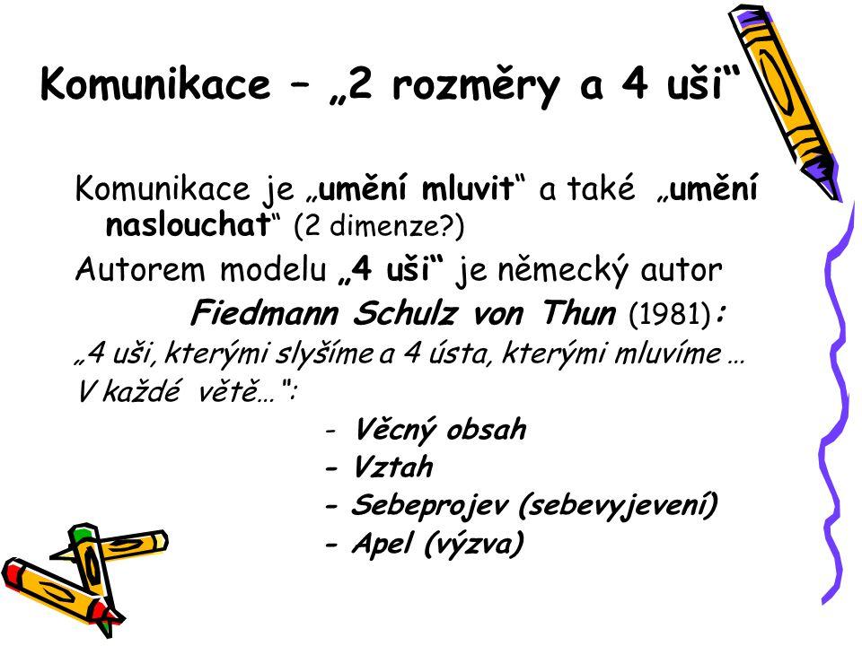 """Komunikace – """"2 rozměry a 4 uši"""