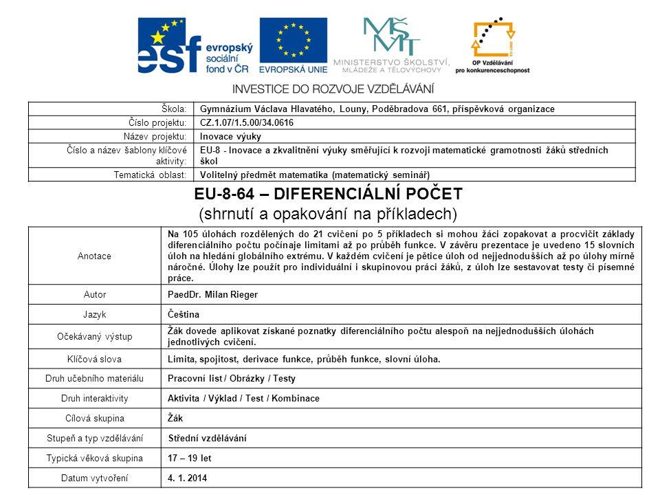 EU-8-64 – DIFERENCIÁLNÍ POČET