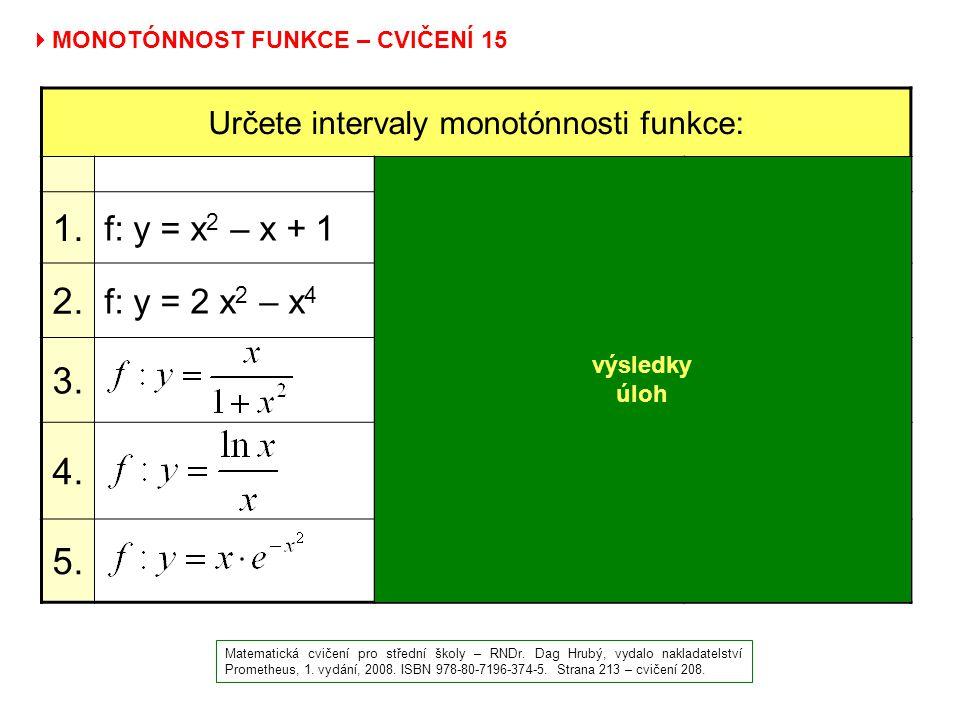 Určete intervaly monotónnosti funkce: