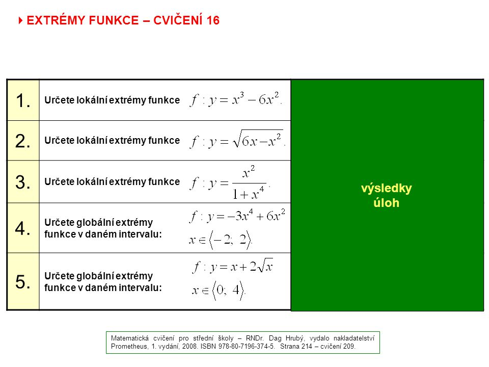 1. 2. 3. 4. 5. EXTRÉMY FUNKCE – CVIČENÍ 16 výsledky úloh