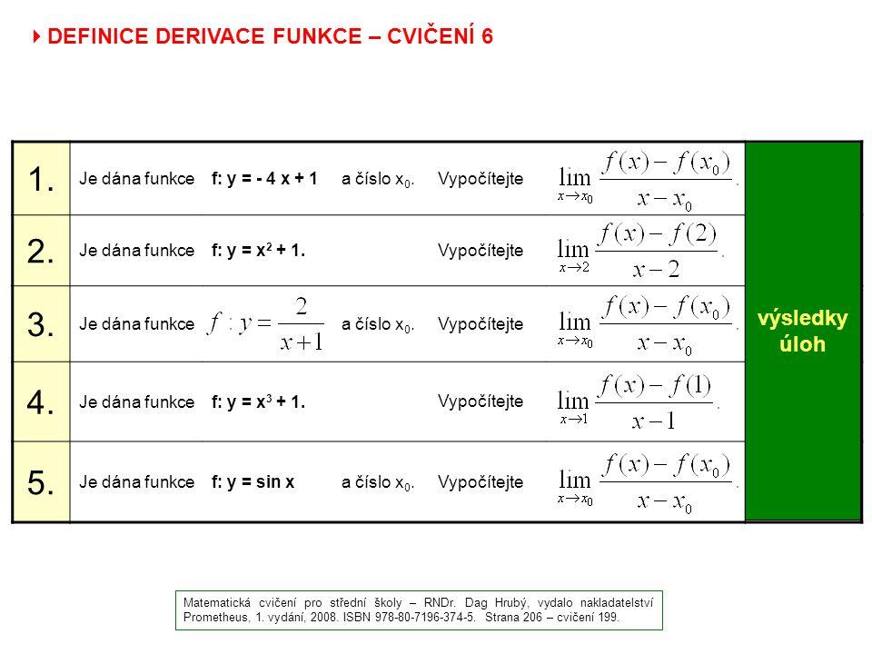 1. 2. 3. 4. 5. - 4 4 3 cos x0 DEFINICE DERIVACE FUNKCE – CVIČENÍ 6