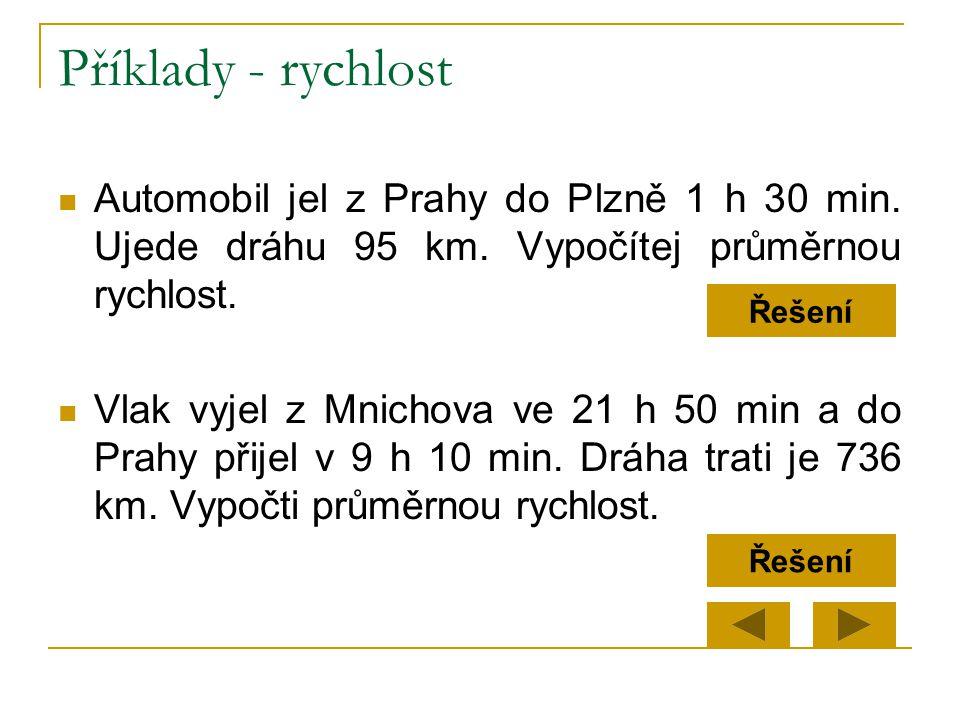 Příklady - rychlost Automobil jel z Prahy do Plzně 1 h 30 min. Ujede dráhu 95 km. Vypočítej průměrnou rychlost.