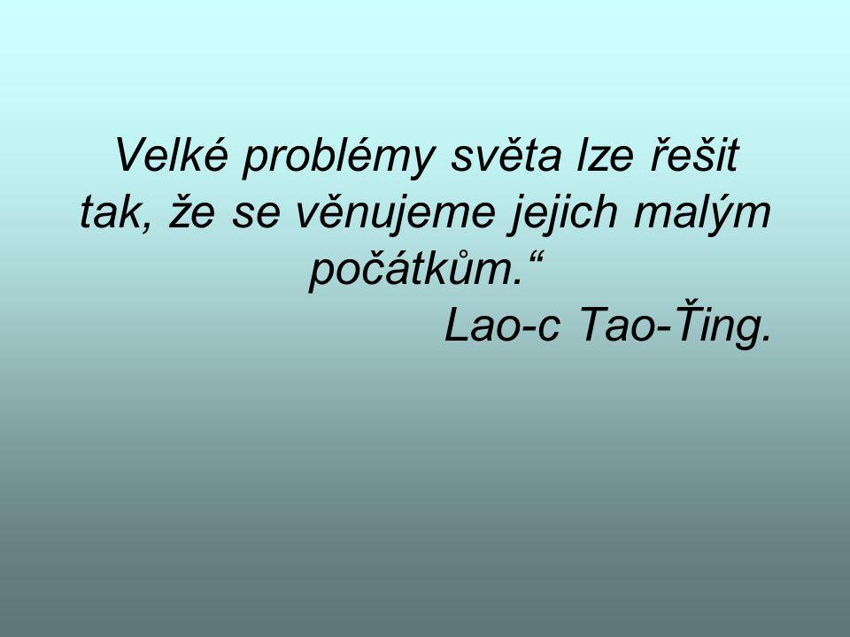 Velké problémy světa lze řešit tak, že se věnujeme jejich malým počátkům. Lao-c Tao-Ťing.