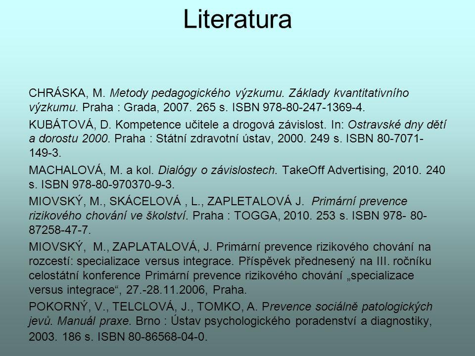 Literatura CHRÁSKA, M. Metody pedagogického výzkumu. Základy kvantitativního výzkumu. Praha : Grada, 2007. 265 s. ISBN 978-80-247-1369-4.