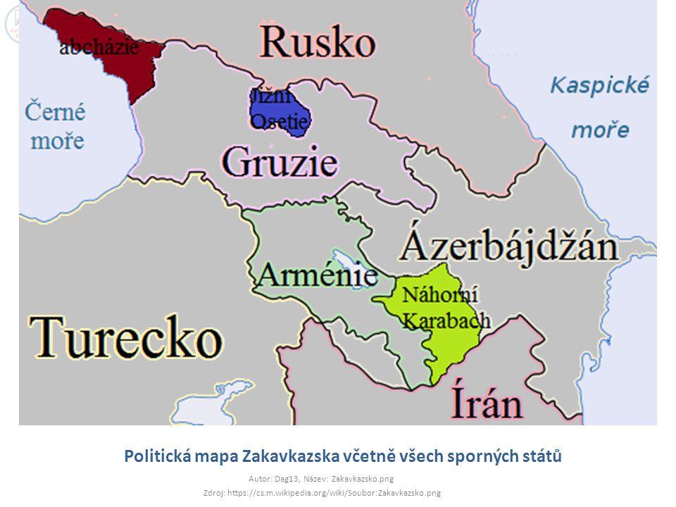 Politická mapa Zakavkazska včetně všech sporných států