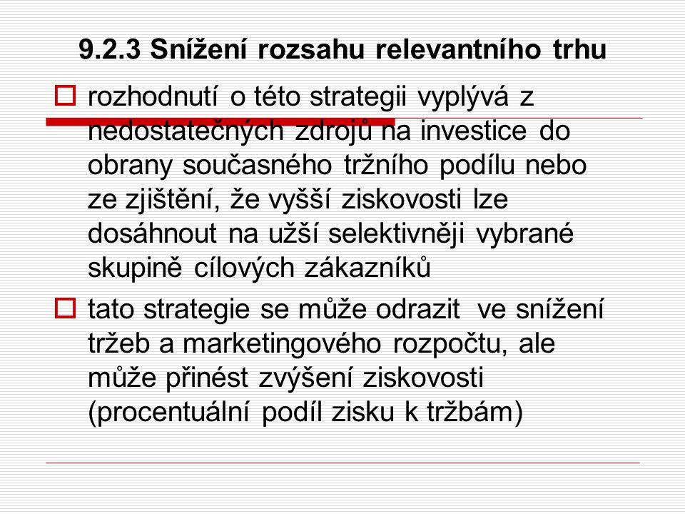 9.2.3 Snížení rozsahu relevantního trhu