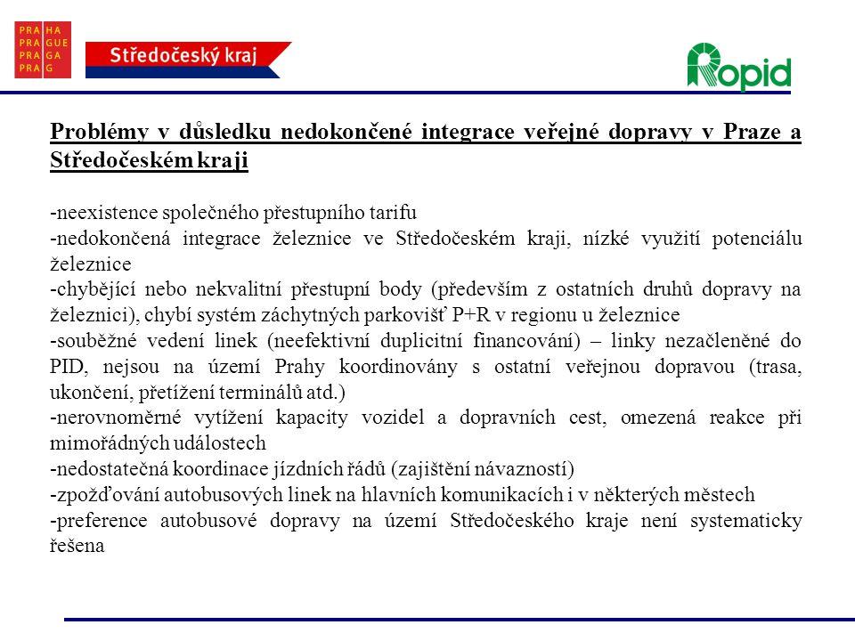 Problémy v důsledku nedokončené integrace veřejné dopravy v Praze a Středočeském kraji