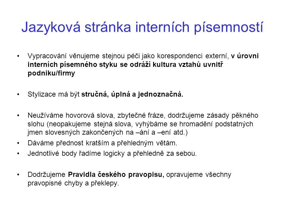 Jazyková stránka interních písemností