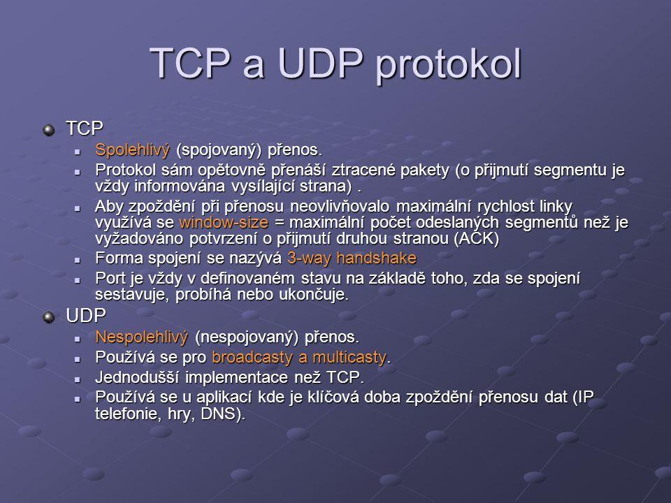 TCP a UDP protokol TCP UDP Spolehlivý (spojovaný) přenos.