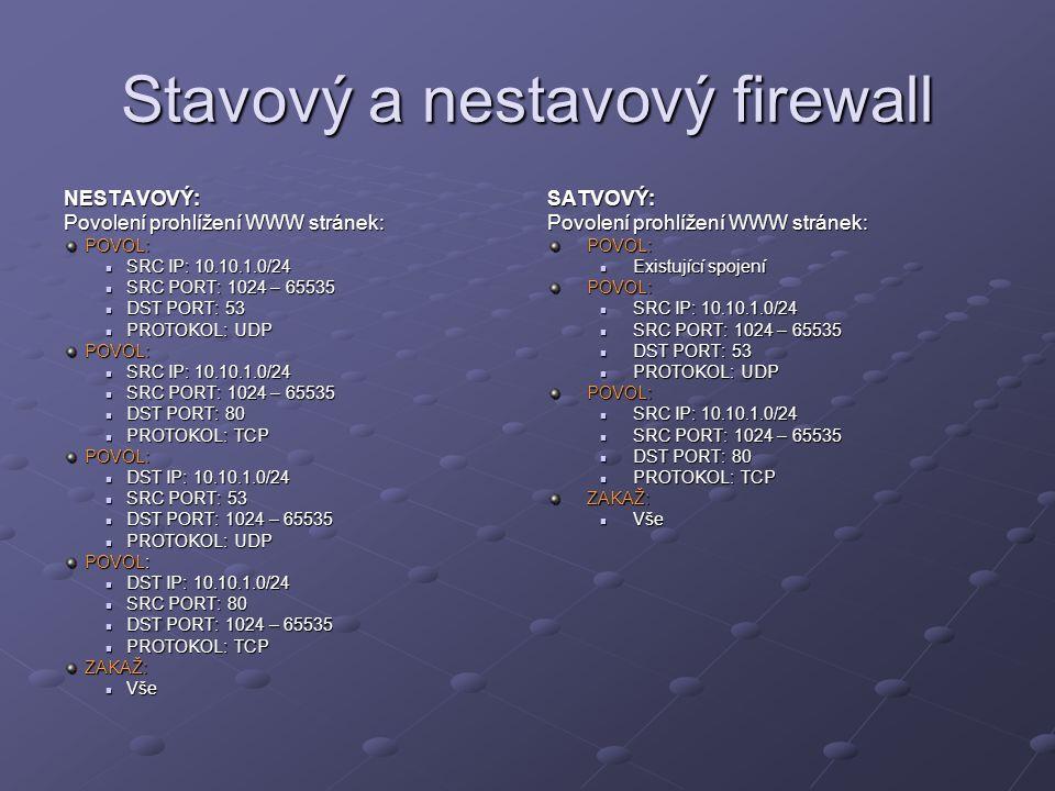 Stavový a nestavový firewall