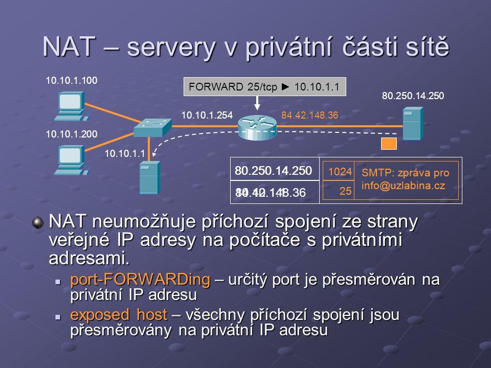 NAT – servery v privátní části sítě