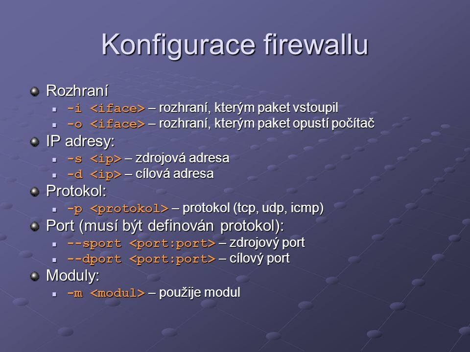 Konfigurace firewallu
