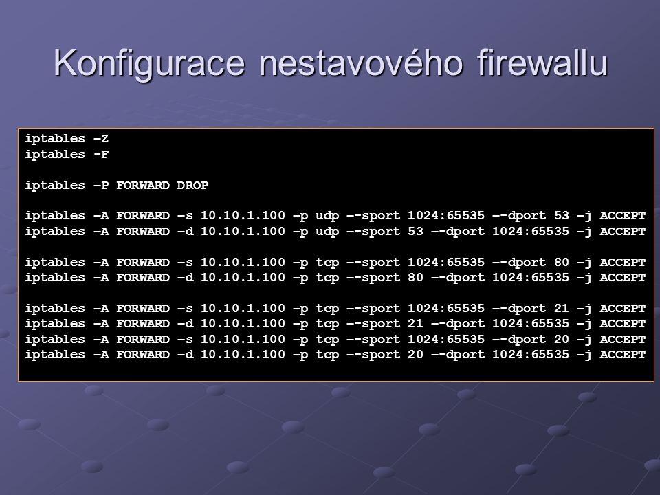 Konfigurace nestavového firewallu