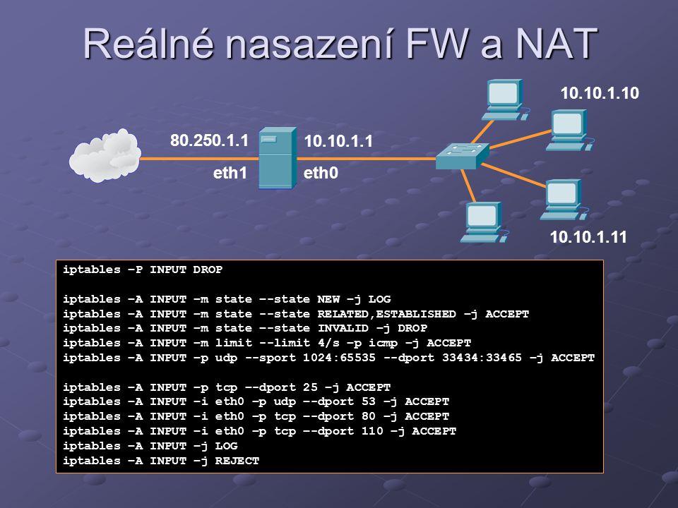 Reálné nasazení FW a NAT