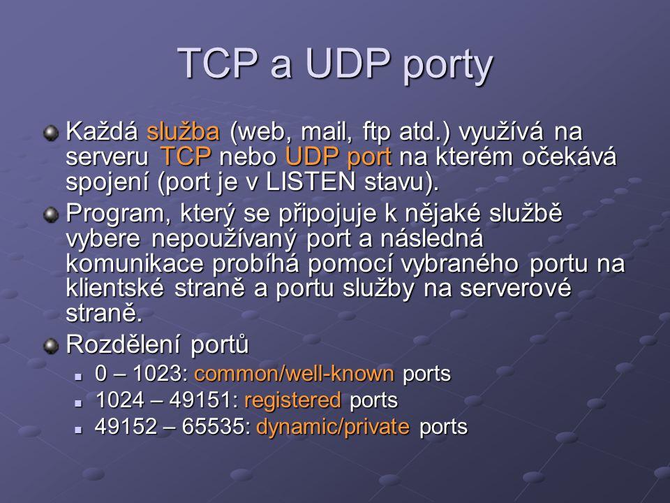 TCP a UDP porty Každá služba (web, mail, ftp atd.) využívá na serveru TCP nebo UDP port na kterém očekává spojení (port je v LISTEN stavu).