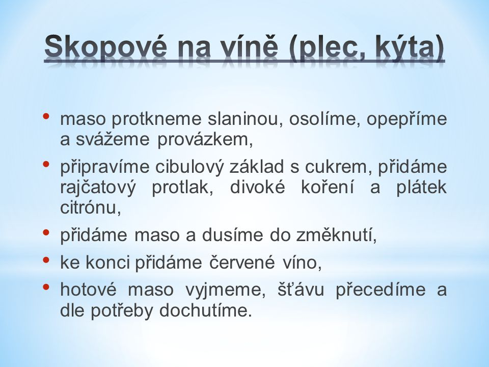 Skopové na víně (plec, kýta)